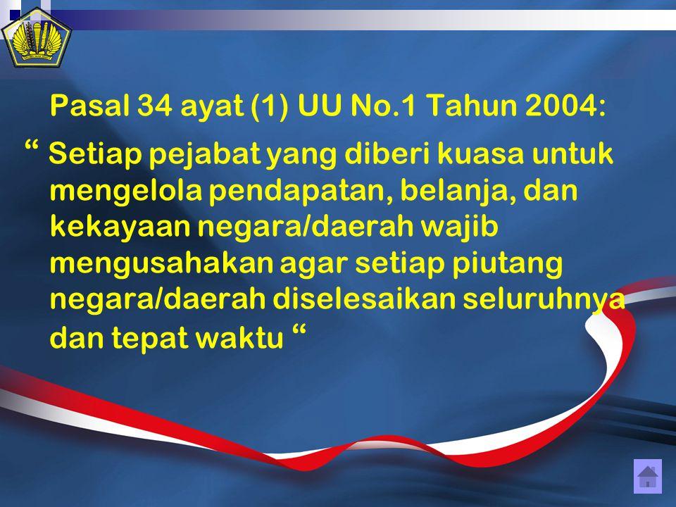 """Pasal 34 ayat (1) UU No.1 Tahun 2004: """" Setiap pejabat yang diberi kuasa untuk mengelola pendapatan, belanja, dan kekayaan negara/daerah wajib mengusa"""