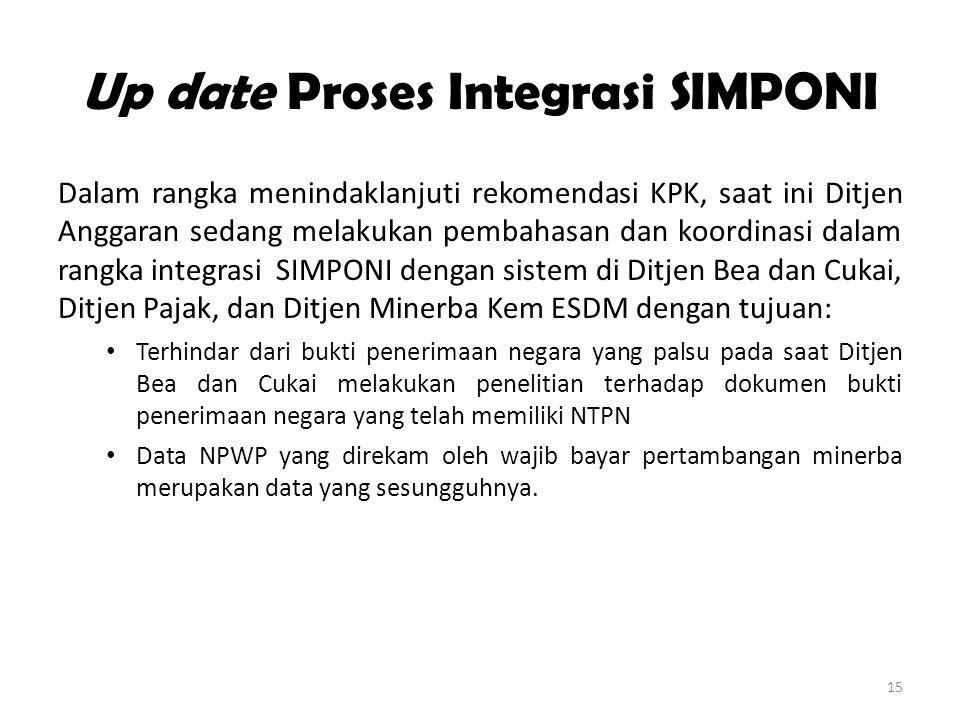 Up date Proses Integrasi SIMPONI Dalam rangka menindaklanjuti rekomendasi KPK, saat ini Ditjen Anggaran sedang melakukan pembahasan dan koordinasi dal