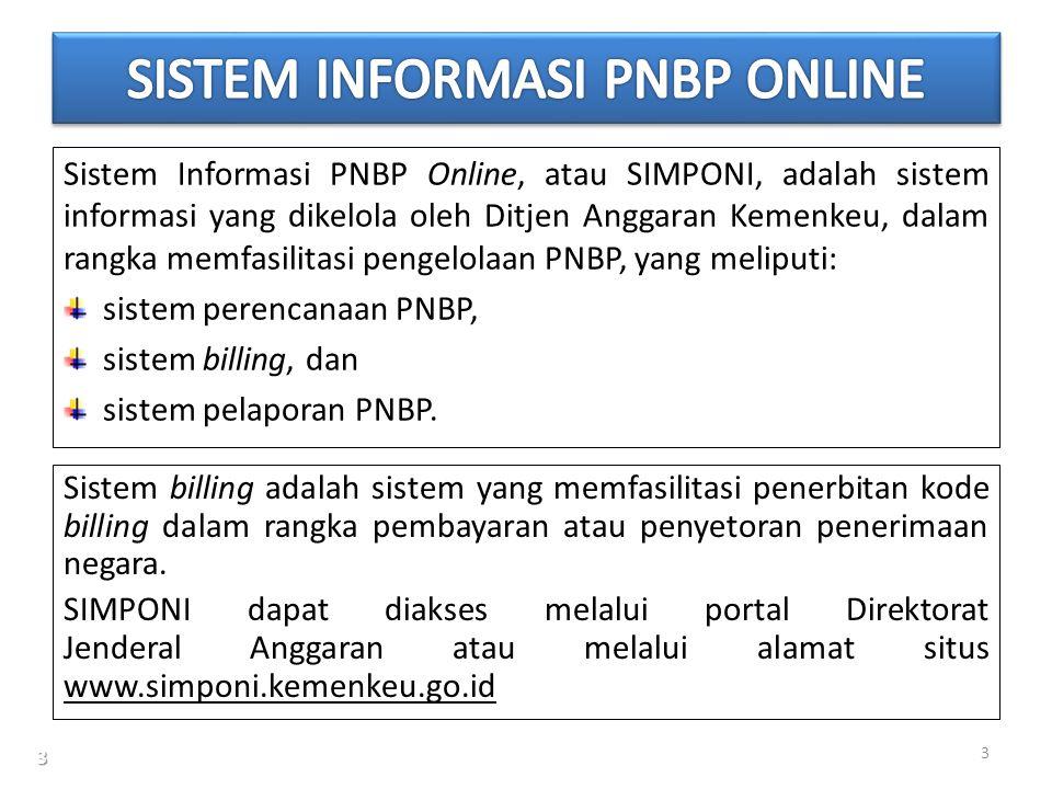 Sistem Informasi PNBP Online, atau SIMPONI, adalah sistem informasi yang dikelola oleh Ditjen Anggaran Kemenkeu, dalam rangka memfasilitasi pengelolaa