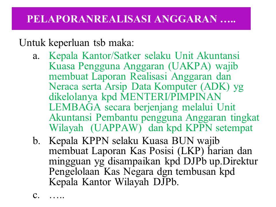 Untuk keperluan penyusunan laporan pertgjwban pelaks.APBN diperlukan a.l.: –Neraca, dan –Catatan atas laporan KeuanganData Realisasi APBN –Arus Kas Un