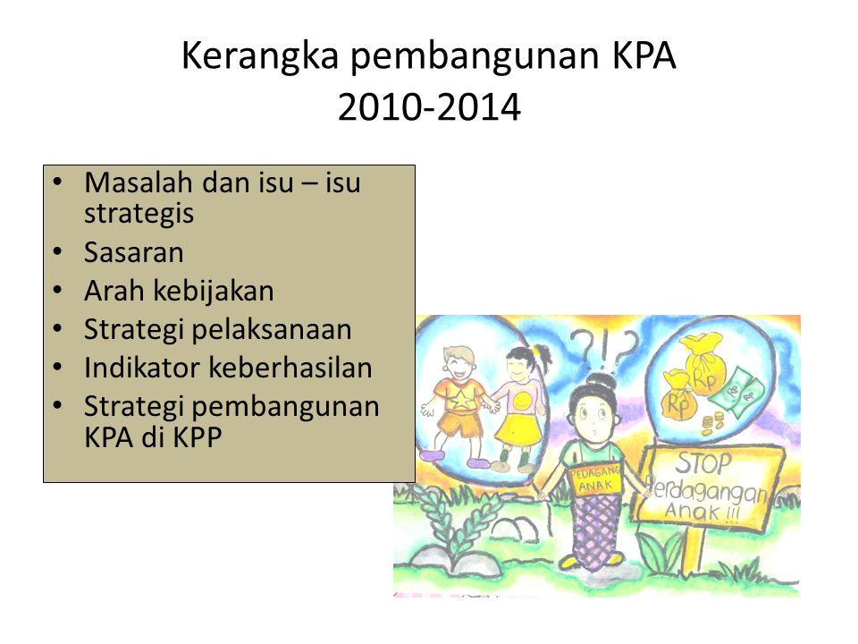 Kerangka pembangunan KPA 2010-2014 Masalah dan isu – isu strategis Sasaran Arah kebijakan Strategi pelaksanaan Indikator keberhasilan Strategi pembang