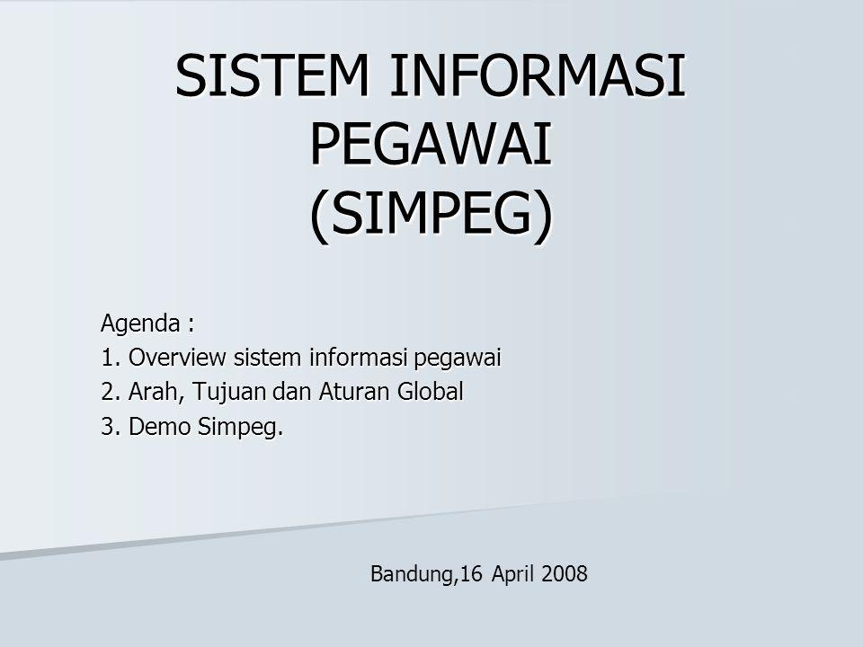 SISTEM INFORMASI PEGAWAI (SIMPEG) Agenda : 1. Overview sistem informasi pegawai 2. Arah, Tujuan dan Aturan Global 3. Demo Simpeg. Bandung,16 April 200