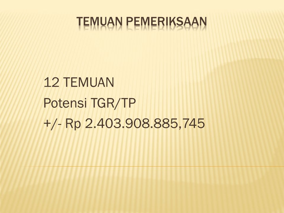 12 TEMUAN Potensi TGR/TP +/- Rp 2.403.908.885,745