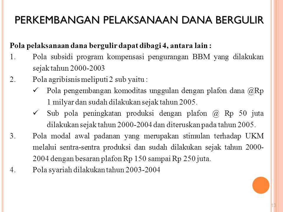 PERKEMBANGAN PELAKSANAAN DANA BERGULIR 13 Pola pelaksanaan dana bergulir dapat dibagi 4, antara lain : 1.Pola subsidi program kompensasi pengurangan B