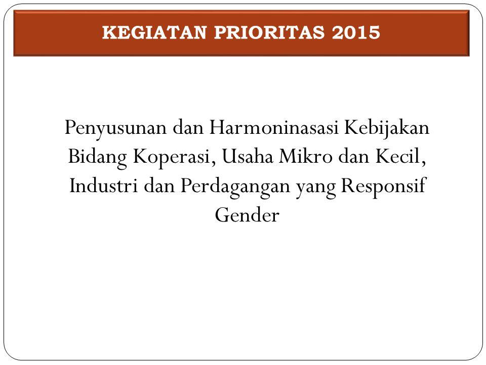 Penyusunan dan Harmoninasasi Kebijakan Bidang Koperasi, Usaha Mikro dan Kecil, Industri dan Perdagangan yang Responsif Gender KEGIATAN PRIORITAS 2015