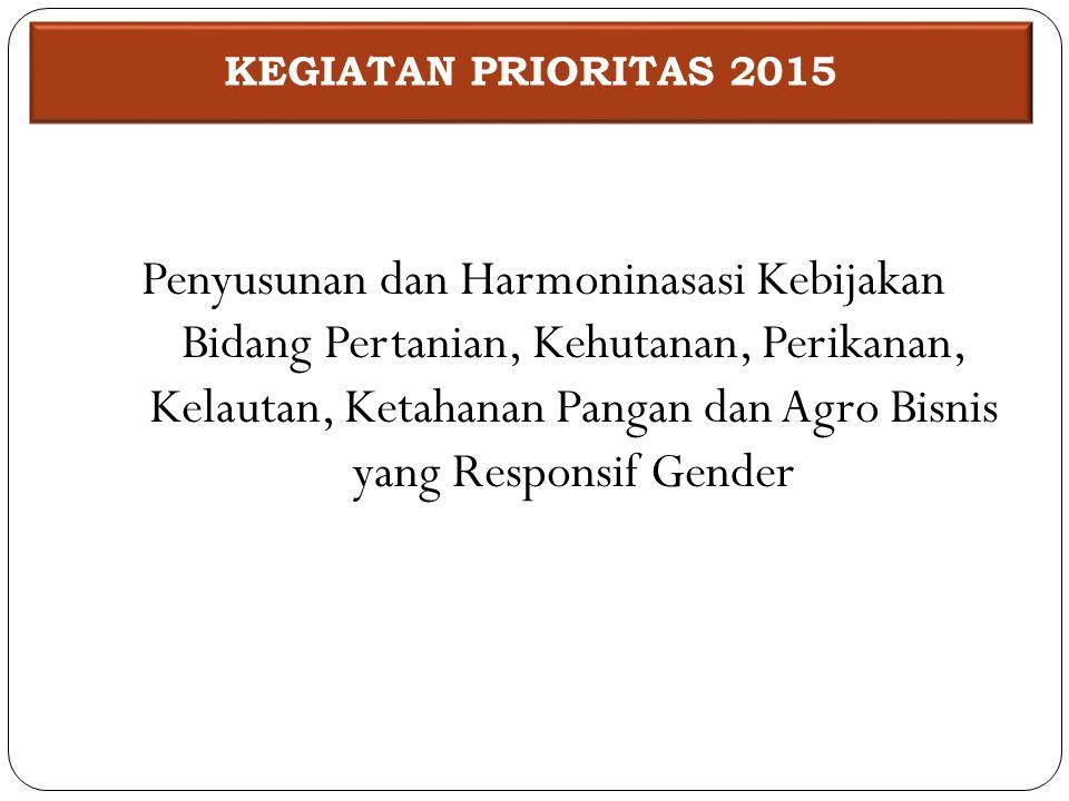 Penyusunan dan Harmoninasasi Kebijakan Bidang Pertanian, Kehutanan, Perikanan, Kelautan, Ketahanan Pangan dan Agro Bisnis yang Responsif Gender KEGIAT