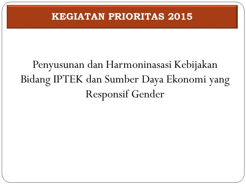 Penyusunan dan Harmoninasasi Kebijakan Bidang IPTEK dan Sumber Daya Ekonomi yang Responsif Gender KEGIATAN PRIORITAS 2015