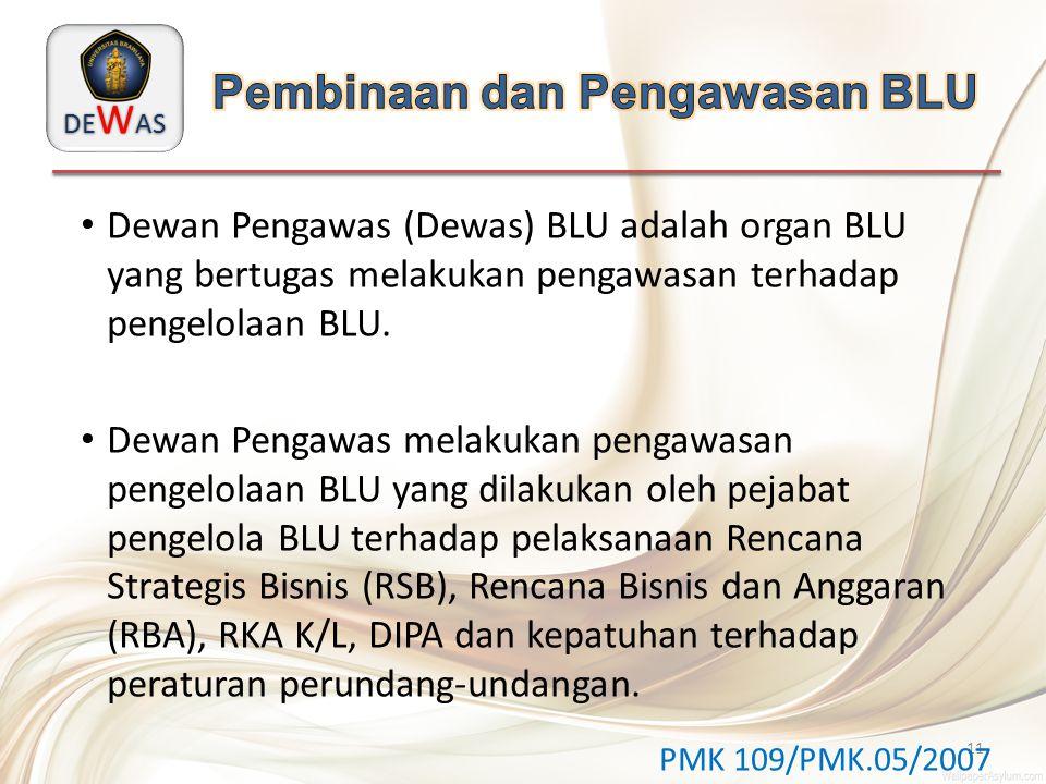 DE W AS 11 Dewan Pengawas (Dewas) BLU adalah organ BLU yang bertugas melakukan pengawasan terhadap pengelolaan BLU. Dewan Pengawas melakukan pengawasa