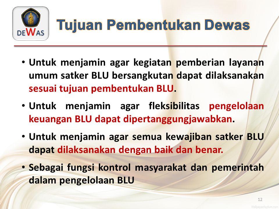 DE W AS 12 Untuk menjamin agar kegiatan pemberian layanan umum satker BLU bersangkutan dapat dilaksanakan sesuai tujuan pembentukan BLU. Untuk menjami