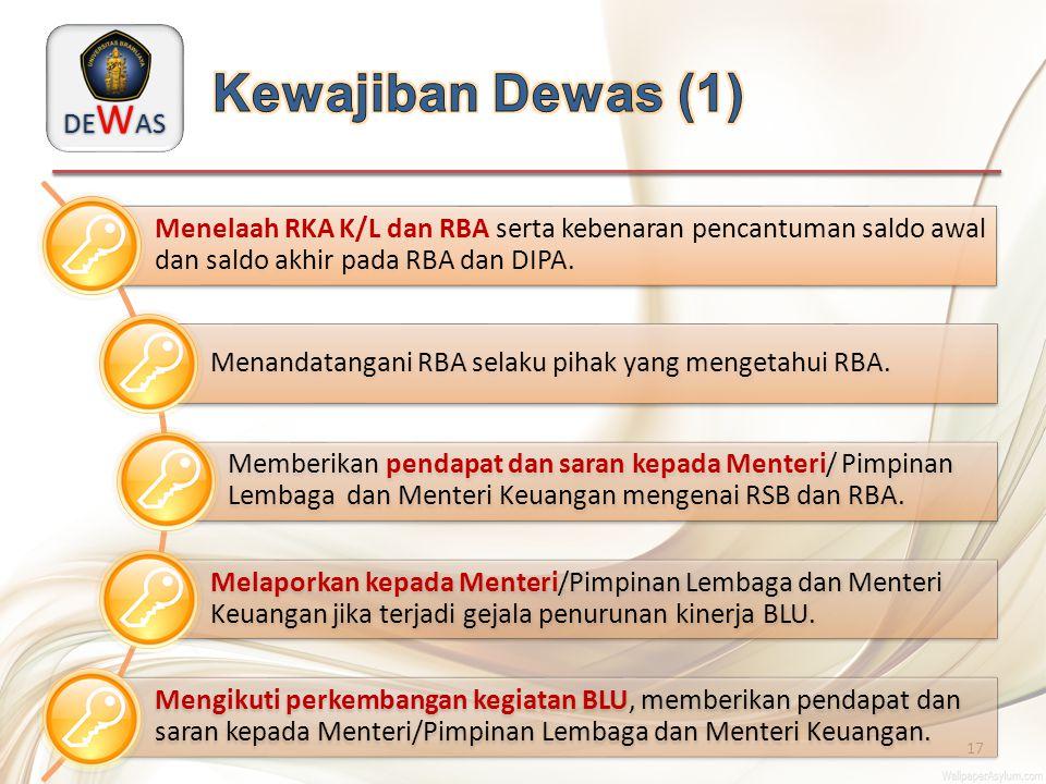DE W AS 17 Menelaah RKA K/L dan RBA serta kebenaran pencantuman saldo awal dan saldo akhir pada RBA dan DIPA. Menandatangani RBA selaku pihak yang men