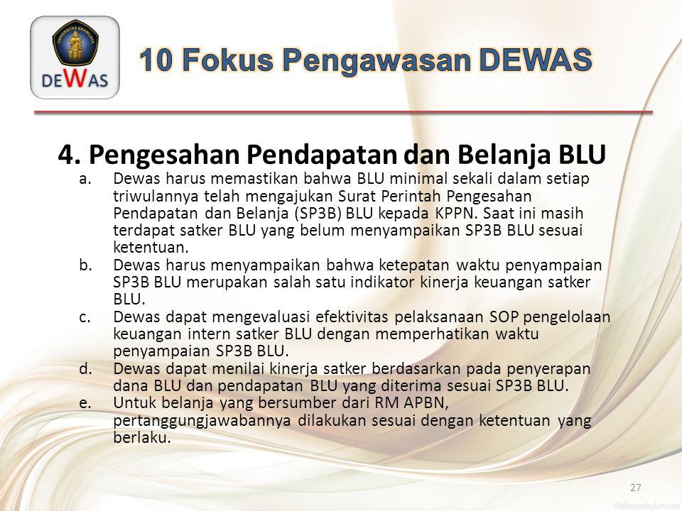 DE W AS 27 4. Pengesahan Pendapatan dan Belanja BLU a.Dewas harus memastikan bahwa BLU minimal sekali dalam setiap triwulannya telah mengajukan Surat
