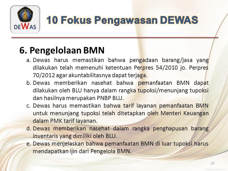 DE W AS 29 6. Pengelolaan BMN a.Dewas harus memastikan bahwa pengadaan barang/jasa yang dilakukan telah memenuhi ketentuan Perpres 54/2010 jo. Perpres