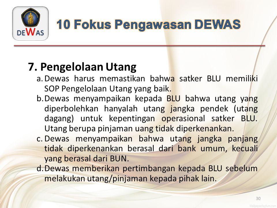 DE W AS 30 7. Pengelolaan Utang a.Dewas harus memastikan bahwa satker BLU memiliki SOP Pengelolaan Utang yang baik. b.Dewas menyampaikan kepada BLU ba