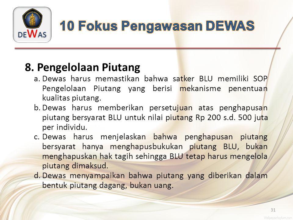 DE W AS 31 8. Pengelolaan Piutang a.Dewas harus memastikan bahwa satker BLU memiliki SOP Pengelolaan Piutang yang berisi mekanisme penentuan kualitas