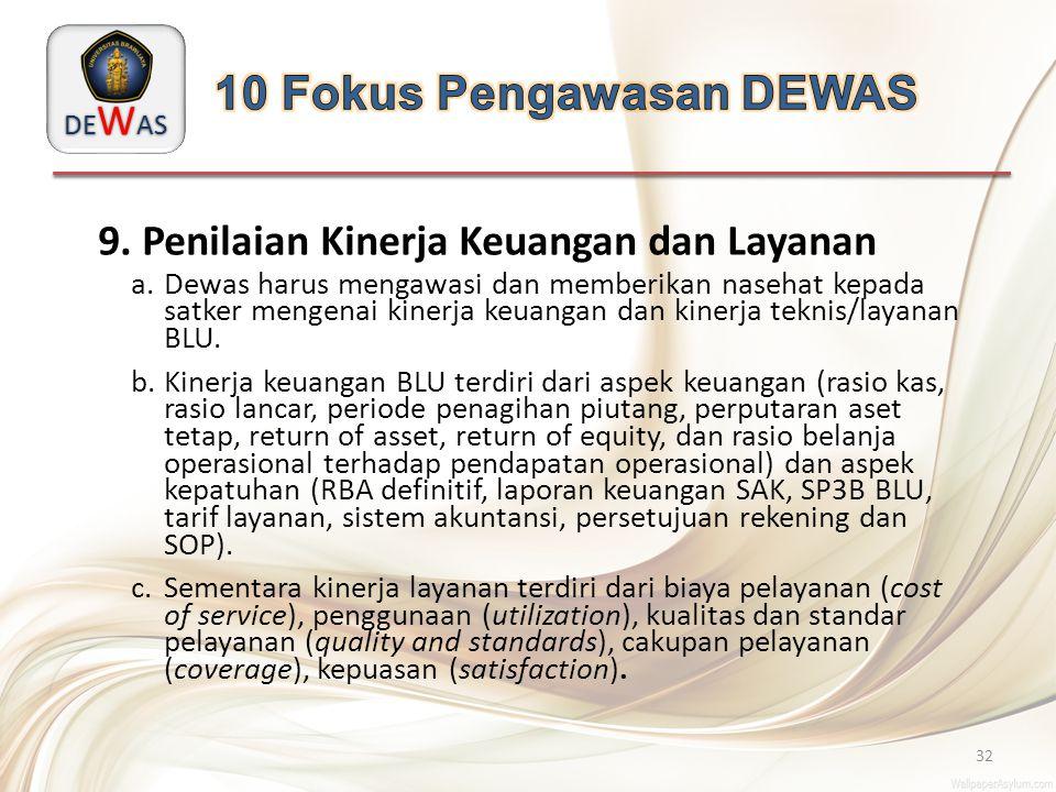 DE W AS 32 9. Penilaian Kinerja Keuangan dan Layanan a.Dewas harus mengawasi dan memberikan nasehat kepada satker mengenai kinerja keuangan dan kinerj