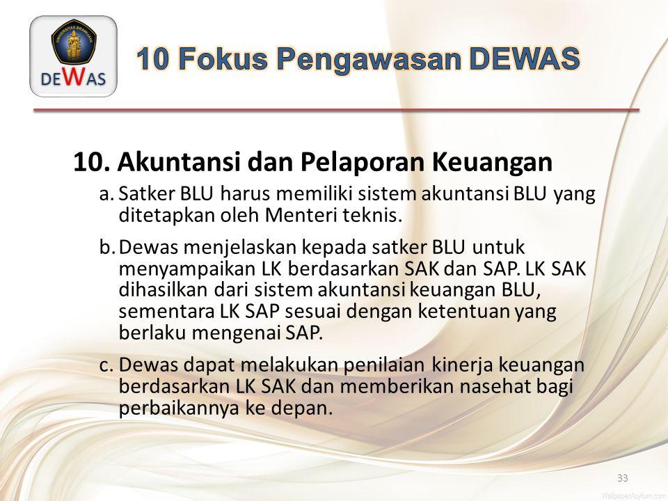 DE W AS 33 10. Akuntansi dan Pelaporan Keuangan a.Satker BLU harus memiliki sistem akuntansi BLU yang ditetapkan oleh Menteri teknis. b.Dewas menjelas