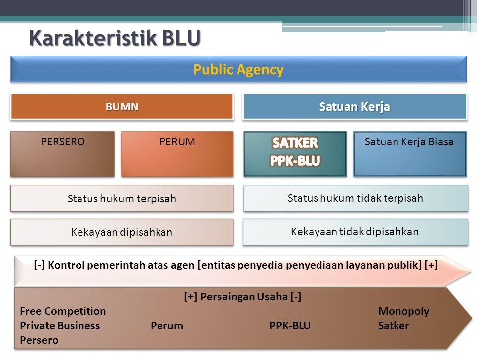 Status hukum tidak terpisah Status hukum terpisah Kekayaan tidak dipisahkan Kekayaan dipisahkan Public Agency [-] Kontrol pemerintah atas agen [entita