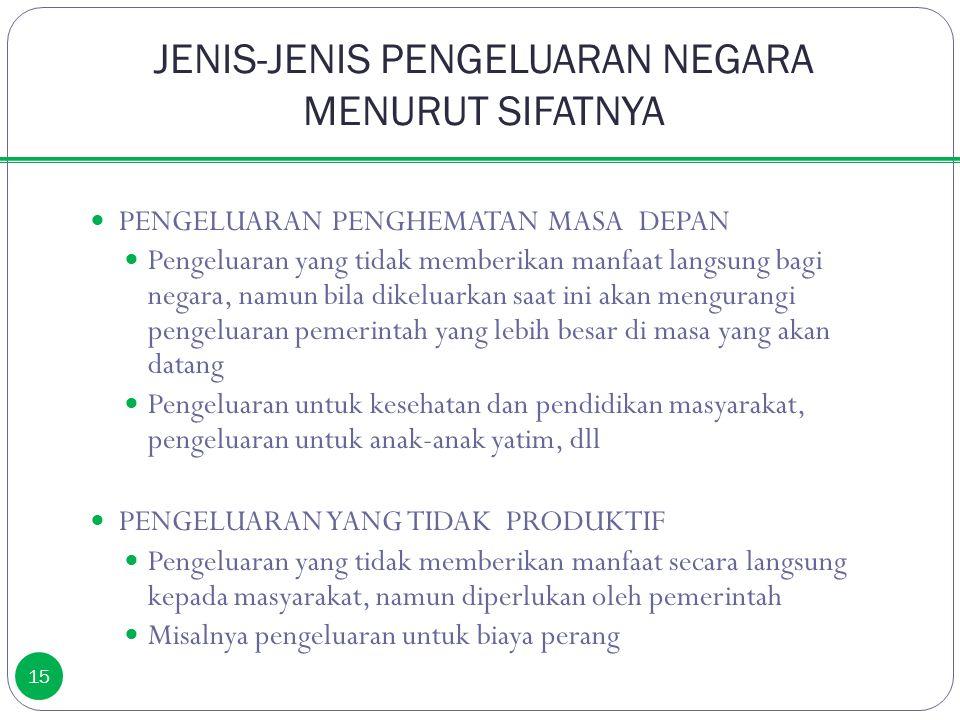 JENIS-JENIS PENGELUARAN NEGARA MENURUT SIFATNYA 15 PENGELUARAN PENGHEMATAN MASA DEPAN Pengeluaran yang tidak memberikan manfaat langsung bagi negara,