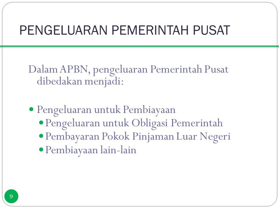 PENGELUARAN PEMERINTAH PUSAT 9 Dalam APBN, pengeluaran Pemerintah Pusat dibedakan menjadi: Pengeluaran untuk Pembiayaan Pengeluaran untuk Obligasi Pem