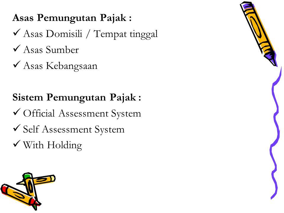 Asas Pemungutan Pajak : Asas Domisili / Tempat tinggal Asas Sumber Asas Kebangsaan Sistem Pemungutan Pajak : Official Assessment System Self Assessment System With Holding