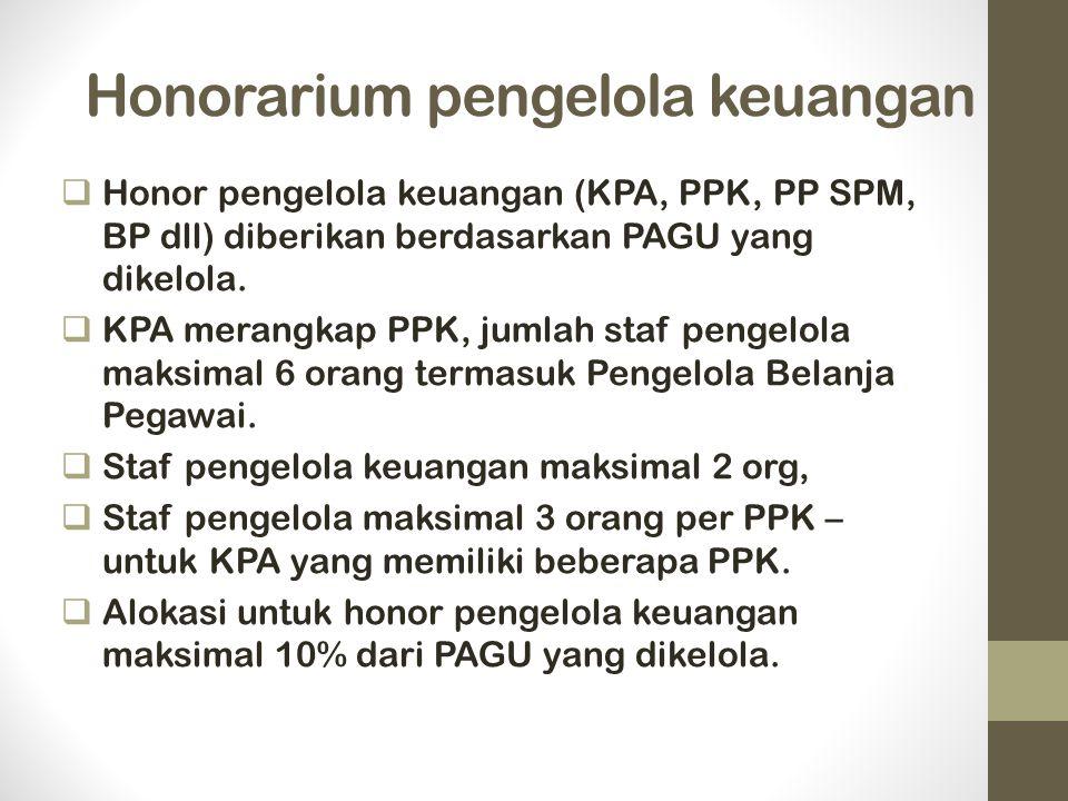 Honorarium pengelola keuangan  Honor pengelola keuangan (KPA, PPK, PP SPM, BP dll) diberikan berdasarkan PAGU yang dikelola.  KPA merangkap PPK, jum