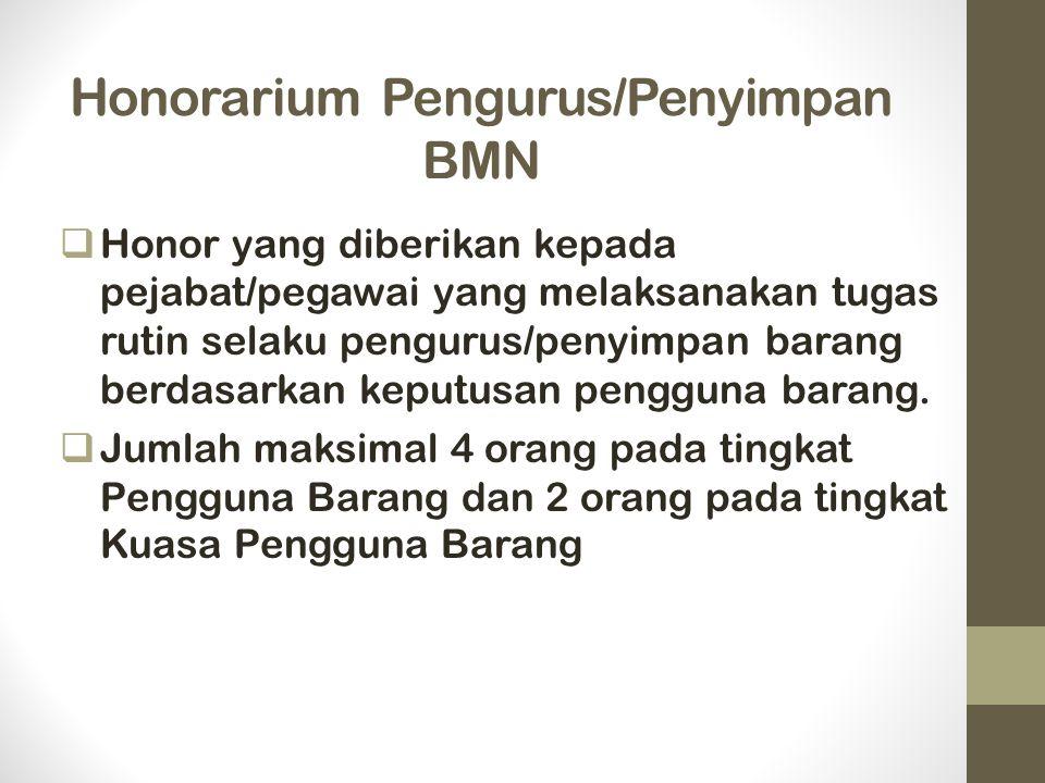 Honorarium Pengurus/Penyimpan BMN  Honor yang diberikan kepada pejabat/pegawai yang melaksanakan tugas rutin selaku pengurus/penyimpan barang berdasarkan keputusan pengguna barang.