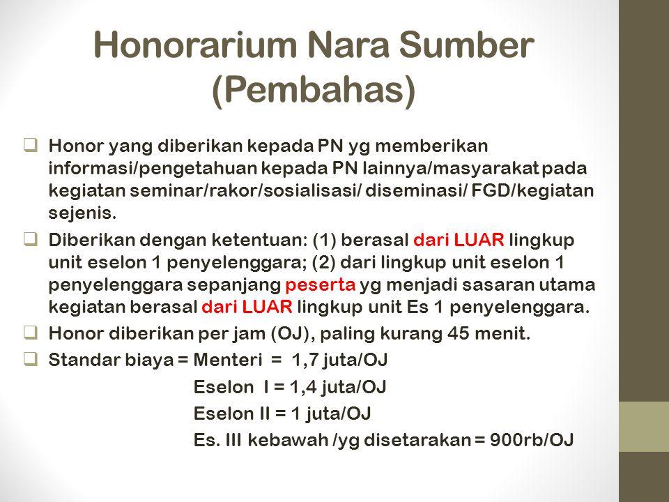 Honorarium Nara Sumber (Pembahas)  Honor yang diberikan kepada PN yg memberikan informasi/pengetahuan kepada PN lainnya/masyarakat pada kegiatan seminar/rakor/sosialisasi/ diseminasi/ FGD/kegiatan sejenis.