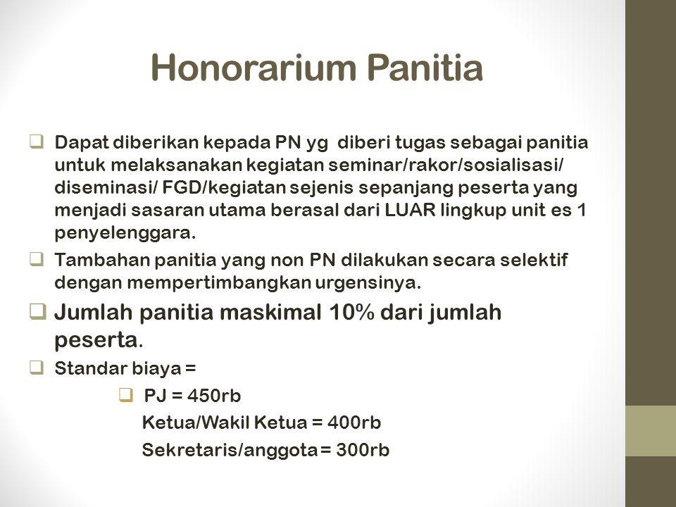 Honorarium Panitia  Dapat diberikan kepada PN yg diberi tugas sebagai panitia untuk melaksanakan kegiatan seminar/rakor/sosialisasi/ diseminasi/ FGD/