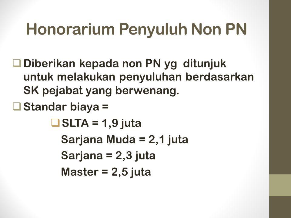 Honorarium Penyuluh Non PN  Diberikan kepada non PN yg ditunjuk untuk melakukan penyuluhan berdasarkan SK pejabat yang berwenang.  Standar biaya = 