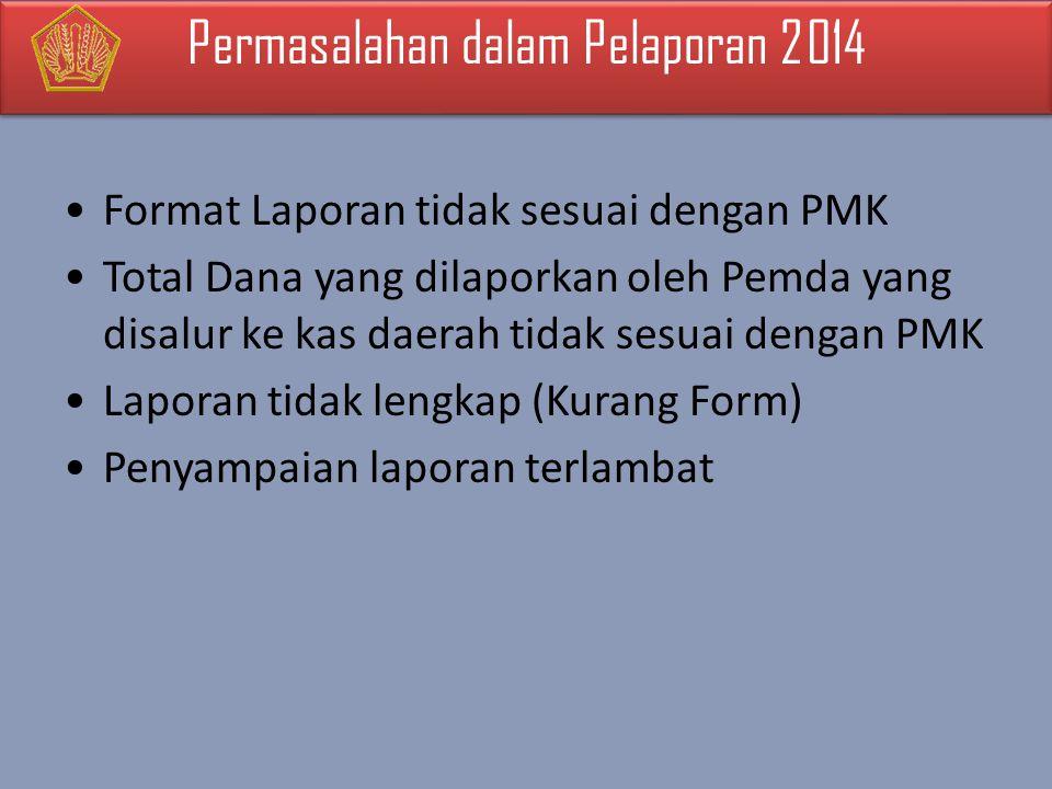 Format Laporan tidak sesuai dengan PMK Total Dana yang dilaporkan oleh Pemda yang disalur ke kas daerah tidak sesuai dengan PMK Laporan tidak lengkap (Kurang Form) Penyampaian laporan terlambat Permasalahan dalam Pelaporan 2014