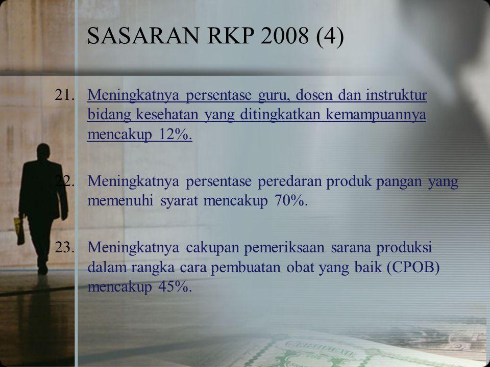 SASARAN RKP 2008 (4) 21.Meningkatnya persentase guru, dosen dan instruktur bidang kesehatan yang ditingkatkan kemampuannya mencakup 12%.