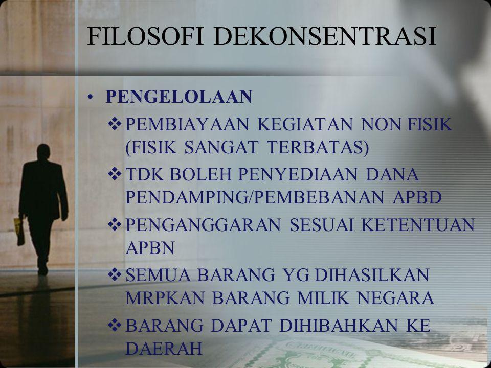 FILOSOFI DEKONSENTRASI PENGELOLAAN  PEMBIAYAAN KEGIATAN NON FISIK (FISIK SANGAT TERBATAS)  TDK BOLEH PENYEDIAAN DANA PENDAMPING/PEMBEBANAN APBD  PE