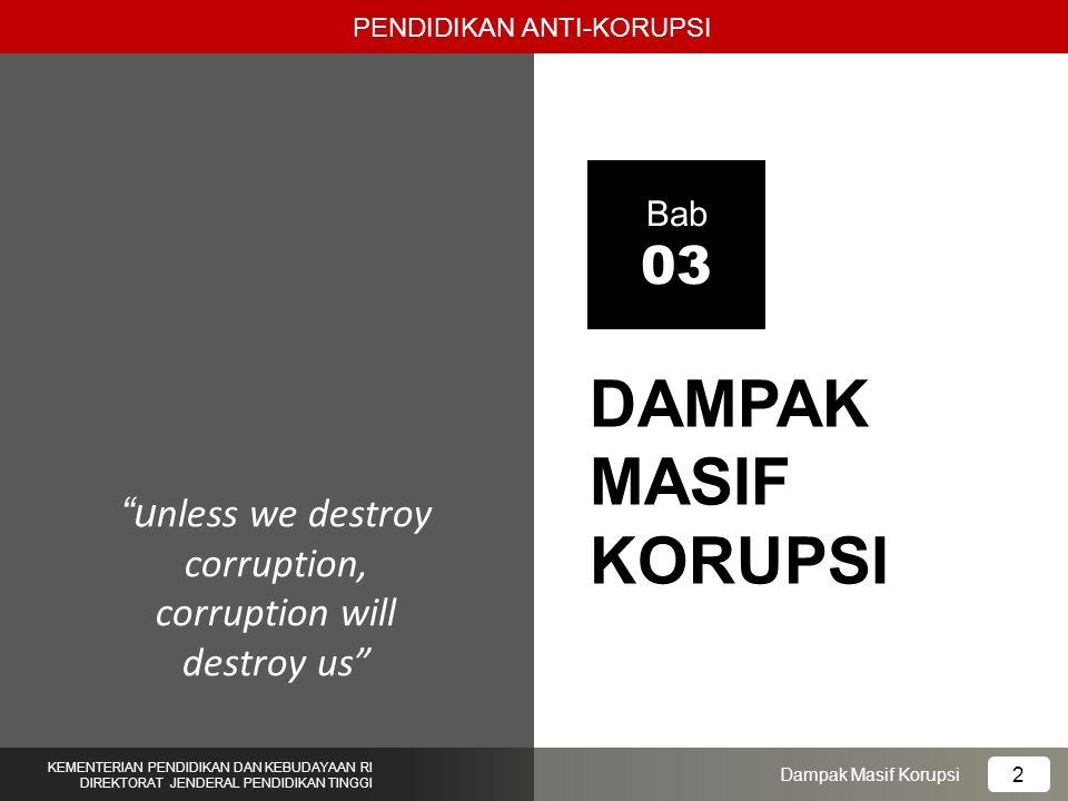 1.Mahasiswa mengetahui dampak korupsi; 2.Mahasiswa dapat memiliki empati pada korban korupsi; 3.Mahasiswa bersedia tidak melakukan perbuatan korupsi.