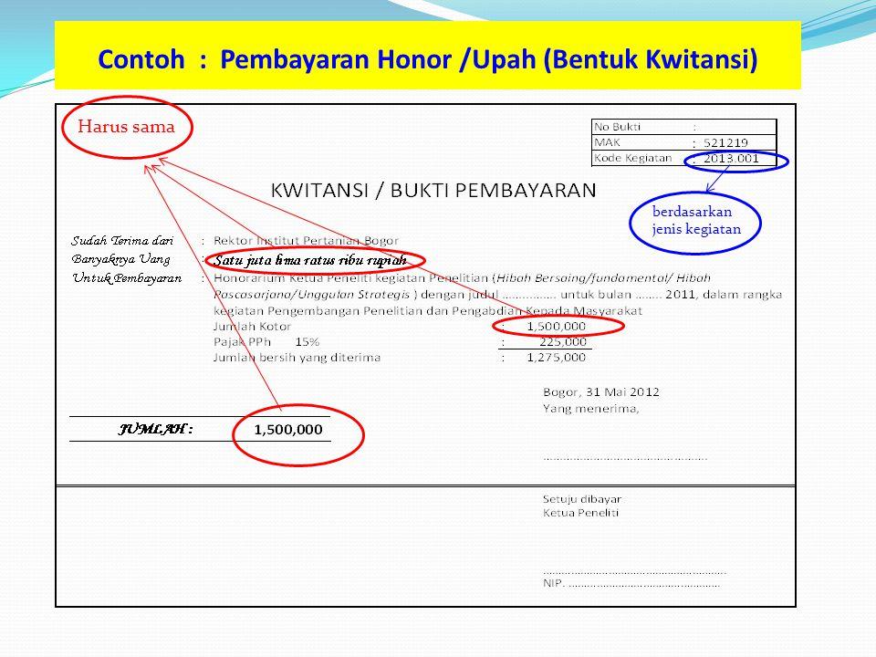 Contoh : Pembayaran Honor /Upah (Bentuk Kwitansi) Harus sama berdasarkan jenis kegiatan