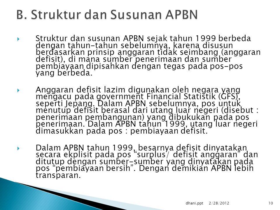  Struktur dan susunan APBN sejak tahun 1999 berbeda dengan tahun-tahun sebelumnya, karena disusun berdasarkan prinsip anggaran tidak seimbang (anggaran defisit), di mana sumber penerimaan dan sumber pembiayaan dipisahkan dengan tegas pada pos-pos yang berbeda.