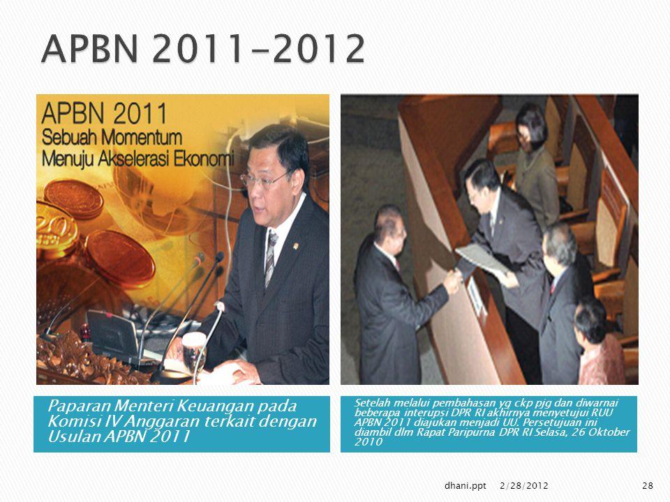 Paparan Menteri Keuangan pada Komisi IV Anggaran terkait dengan Usulan APBN 2011 Setelah melalui pembahasan yg ckp pjg dan diwarnai beberapa interupsi DPR RI akhirnya menyetujui RUU APBN 2011 diajukan menjadi UU.