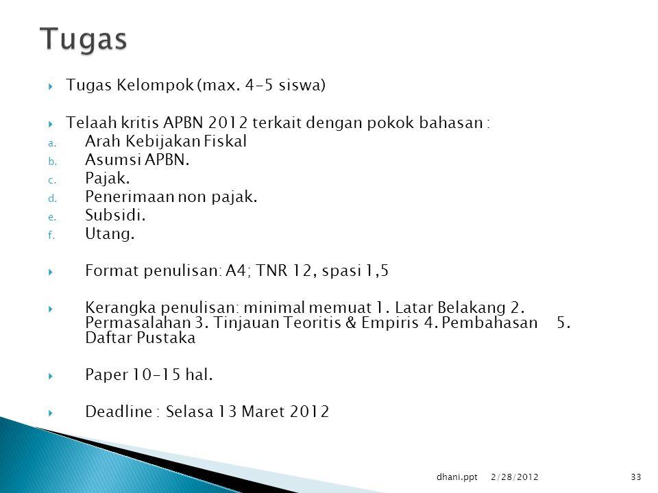  Tugas Kelompok (max.4-5 siswa)  Telaah kritis APBN 2012 terkait dengan pokok bahasan : a.