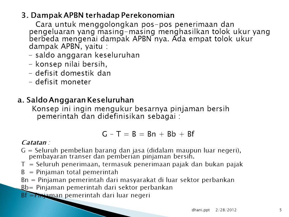 3. Dampak APBN terhadap Perekonomian Cara untuk menggolongkan pos-pos penerimaan dan pengeluaran yang masing-masing menghasilkan tolok ukur yang berbe