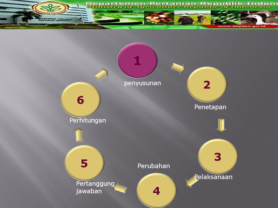 1 4 3 2 6 5 penyusunan Penetapan Pelaksanaan Perubahan Pertanggung jawaban Perhitungan