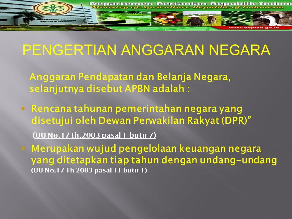"PENGERTIAN ANGGARAN NEGARA  Rencana tahunan pemerintahan negara yang disetujui oleh Dewan Perwakilan Rakyat (DPR)"" (UU No.17 th.2003 pasal 1 butir 7)"