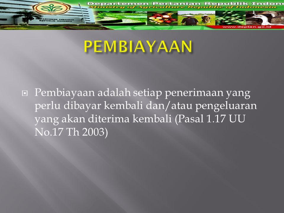  Pembiayaan adalah setiap penerimaan yang perlu dibayar kembali dan/atau pengeluaran yang akan diterima kembali (Pasal 1.17 UU No.17 Th 2003)