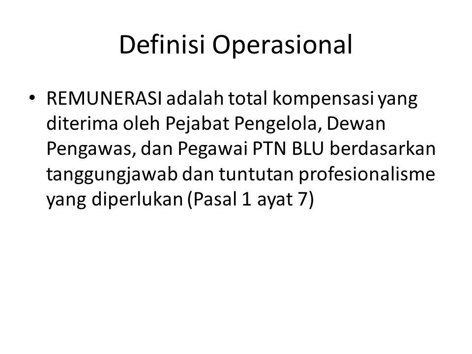 Definisi Operasional REMUNERASI adalah total kompensasi yang diterima oleh Pejabat Pengelola, Dewan Pengawas, dan Pegawai PTN BLU berdasarkan tanggung