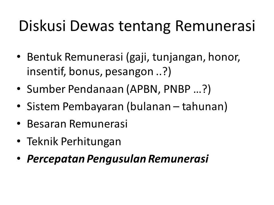 Diskusi Dewas tentang Remunerasi Bentuk Remunerasi (gaji, tunjangan, honor, insentif, bonus, pesangon..?) Sumber Pendanaan (APBN, PNBP …?) Sistem Pemb