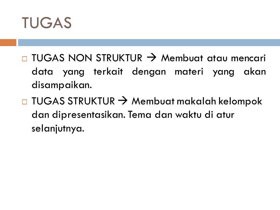 PENILAIAN  Presensi: 25%  Keaktifan: 15%  Tugas Non Struktur : 10%  Tugas Struktur : 10%  UTS: 20%  UAS: 20%