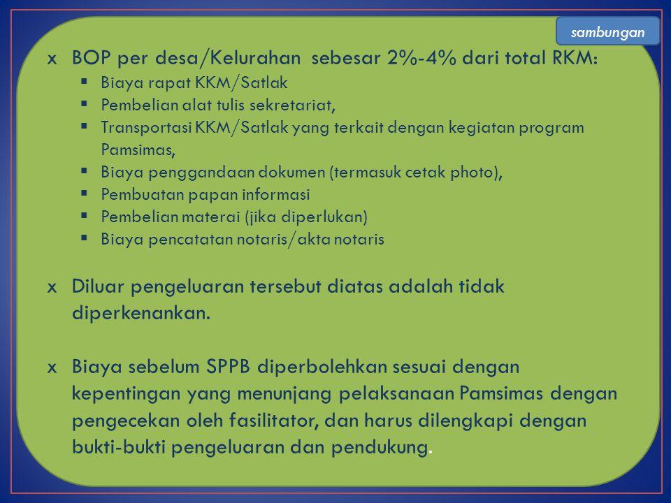 xBOP per desa/Kelurahan sebesar 2%-4% dari total RKM:  Biaya rapat KKM/Satlak  Pembelian alat tulis sekretariat,  Transportasi KKM/Satlak yang terk