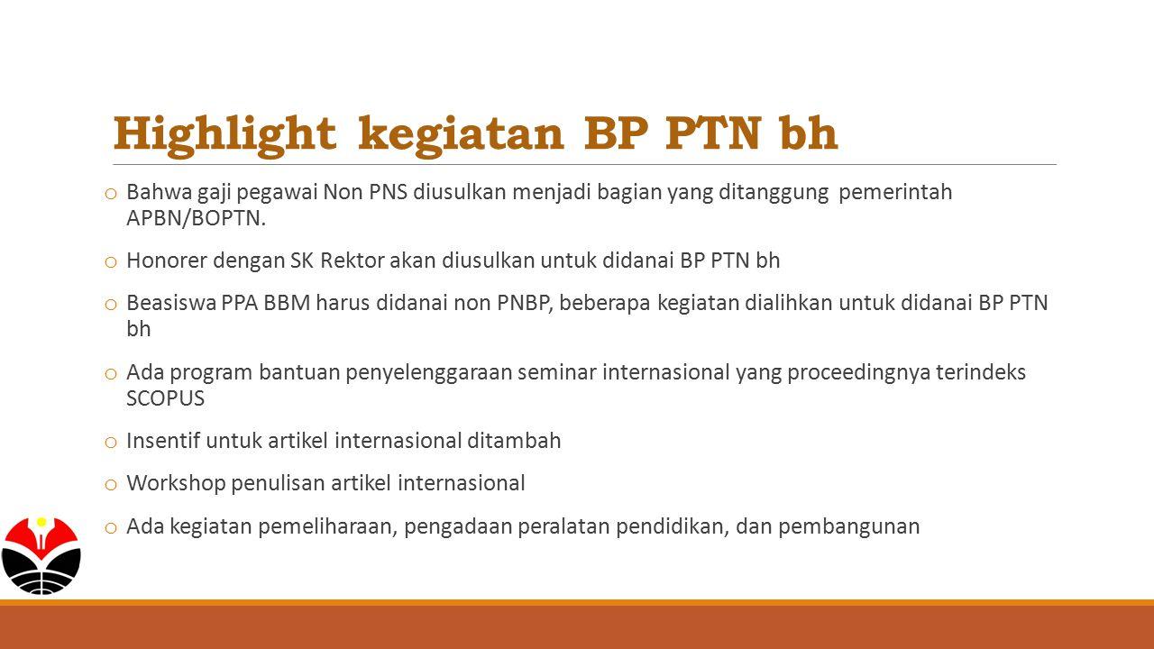 Highlight kegiatan BP PTN bh o Bahwa gaji pegawai Non PNS diusulkan menjadi bagian yang ditanggung pemerintah APBN/BOPTN. o Honorer dengan SK Rektor a