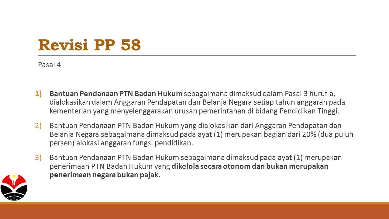 Revisi PP 58 Pasal 4 1)Bantuan Pendanaan PTN Badan Hukum sebagaimana dimaksud dalam Pasal 3 huruf a, dialokasikan dalam Anggaran Pendapatan dan Belanj