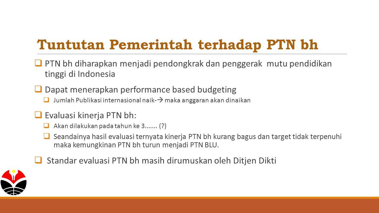Tuntutan Pemerintah terhadap PTN bh  PTN bh diharapkan menjadi pendongkrak dan penggerak mutu pendidikan tinggi di Indonesia  Dapat menerapkan perfo