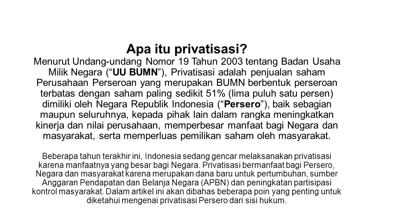Apa itu privatisasi.