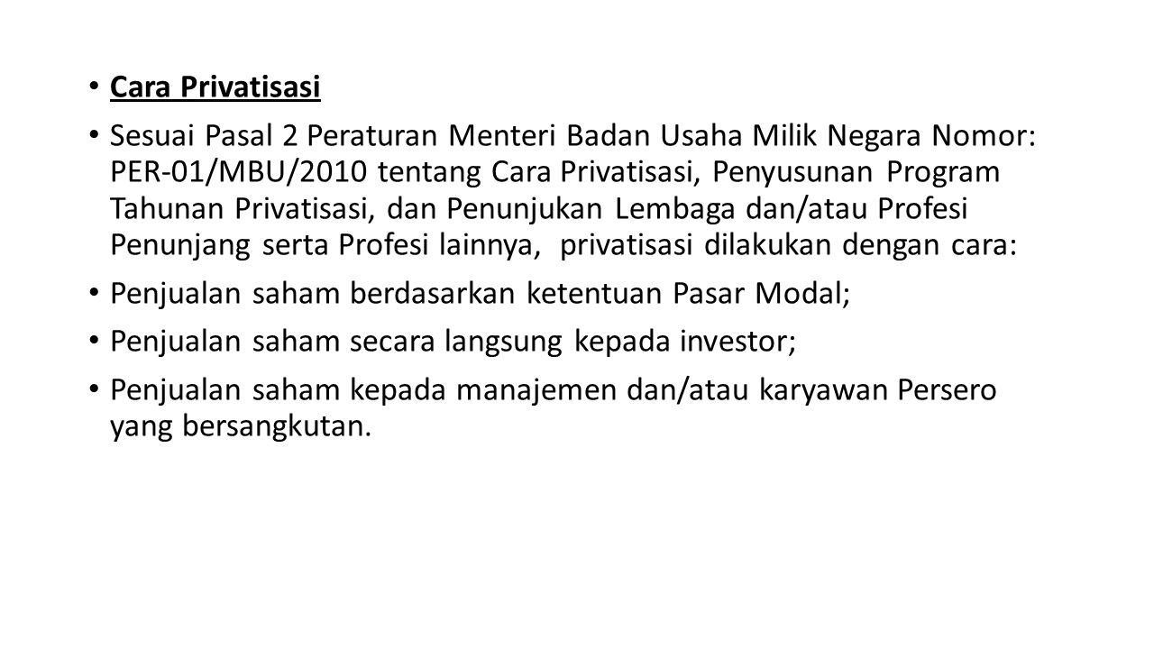 Cara Privatisasi Sesuai Pasal 2 Peraturan Menteri Badan Usaha Milik Negara Nomor: PER-01/MBU/2010 tentang Cara Privatisasi, Penyusunan Program Tahunan